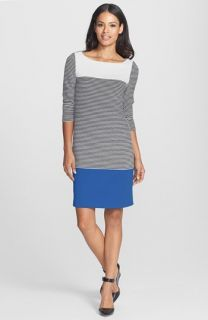 Isaac Mizrahi New York Colorblock Stripe Stretch Jersey Shift Dress