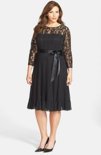 Adrianna Papell Lace Yoke Chiffon Fit & Flare Dress (Plus Size)