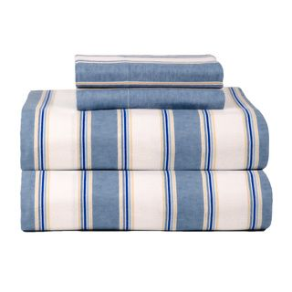 Celeste Home Ultra Soft Blue Stripe Flannel Sheet Set Sheets