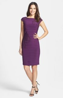 Adrianna Papell Lace Appliqué Banded Jersey Sheath Dress