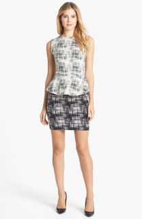 Nicole Miller Jacquard Peplum Sheath Dress