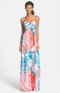 Donna Morgan Laura Print Strapless Sweetheart Chiffon Gown