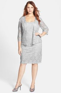 Alex Evenings Sequin Lace Dress & Jacket (Plus Size)
