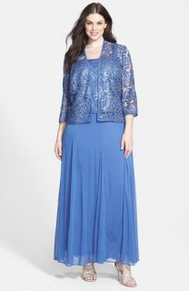 Alex Evenings Embellished Chiffon Dress & Jacket (Plus Size)