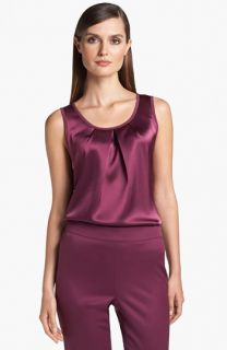 St. John Collection Pleated Neck Liquid Satin Shell