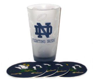 Notre Dame Fighting Irish NCAA 16oz Logo Pint Glass & 4 Piece Coaster Set Kitchen & Dining