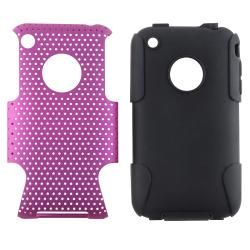 Black Skin/ Purple Mesh Hybrid Case for Apple iPhone 3G/ 3GS Eforcity Cases & Holders