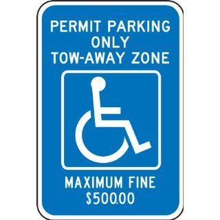 "Accuform Signs FRA195RA Engineer Grade Reflective Aluminum Handicap Parking Sign, For Georgia Metro Atlanta, Legend ""PERMIT PARKING ONLY TOW AWAY ZONE MAXIMUM FINE $500.00"" with Graphic, 12"" Width x 18"" Length x 0.080"" Thickness, W"