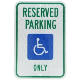 "Accuform Signs FRA199RA Engineer Grade Reflective Aluminum Handicap Parking Sign, For Michigan, Legend ""RESERVED PARKING ONLY"" with Graphic, 12"" Width x 18"" Length x 0.080"" Thickness, Green/Blue on White Industrial & Scientifi"