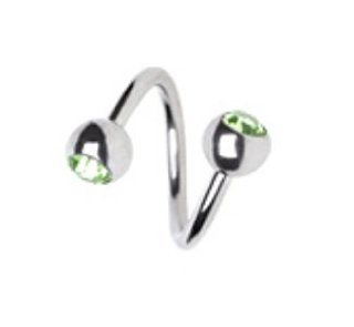 "Green Steel Double Gem Twist Navel Ring Belly Button Piercing Jewelry 14G 7/16"" Jewelry"