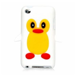 iSee Case (TM) 3D Cartoon Silicone Full Cover Case for Apple iPod touch 4 iTouch 4 (it4 Penguin+Stylus) (White) Cell Phones & Accessories