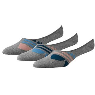adidas Originals 3 Pack Large Trefoil SL Ped Socks   Womens   Casual   Accessories   Heather Grey/Tribe Blue/Fade Rose/Bahia Light Blue