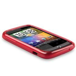 Clear Red TPU Rubber Case for HTC Wildfire Cases & Holders