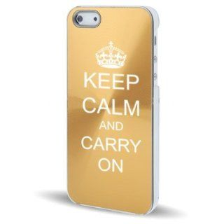 Apple iPhone 5 5S Gold 5C148 Aluminum Plated Hard Back Case Cover Keep Calm and Carry On Cell Phones & Accessories