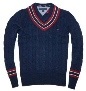 Tommy Hilfiger Men Cable Knit V neck Sweater Pullover   XXL   Navy Clothing