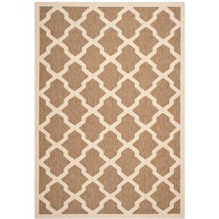 Safavieh CY6903 242 Courtyard Collection Indoor/Outdoor Area Rug, 4 Feet by 5 Feet 7 Inch, Brown and Bone