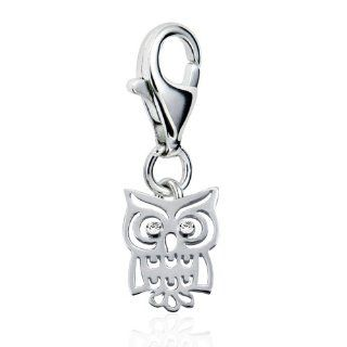 Chuvora Sterling Silver Adorable Cut Out Owl Bird w/ White CZ with Lobster Clasp Charm for Charm Bracelet Chuvora Jewelry
