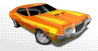 Hot Wheels   '72 Ford Gran Torino Sport (Orange w/Yellow Stripes)   Muscle Mania, Ford 12   7/10 ~ 117/247 [Scale 164] Toys & Games