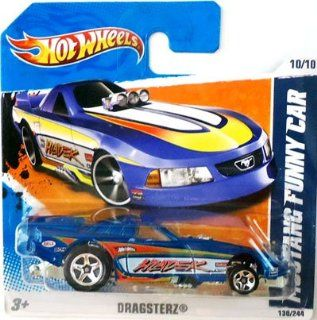 2011 Hot Wheels (Blue) MUSTANG FUNNY CAR #130/244, Dragsterz #10/10 (Short Card) Toys & Games