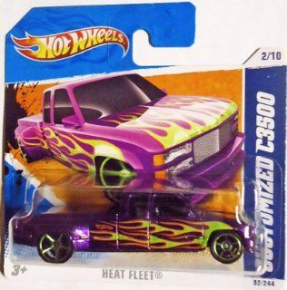 2011 Hot Wheels CUSTOMIZED C3500 (Metallic Purple Truck) #92/244, Heat Fleet #2/10 (Short Card) Toys & Games