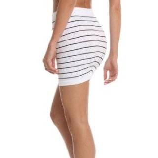 247 Frenzy Stretchy Striped Pull on Slim Fit Skirt   White (One Size Fits Most)