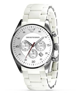 Emporio Armani Round Chronograph Watch in White, 43 mm's