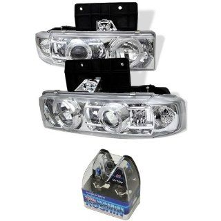 Carpart4u Chevy Astro / GMC Safari Halo Projector Headlights & Koshin Platinum White Halogen Light Bulbs package Automotive