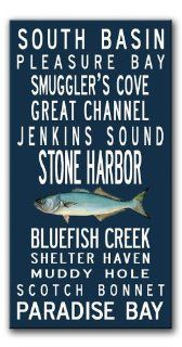 Subway Sign Wall Art Jersey Shore in navy with bluefish art 20x40   Prints