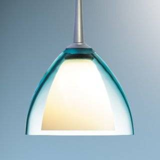 Bruck Lighting 320728CH/MP Chrome Rainbow II Down Light Mono Point Pendant with Frosted White Glass Inner Shade and Turquoise Glass Outer Shade from the Rainbow II Collection   Ceiling Pendant Fixtures