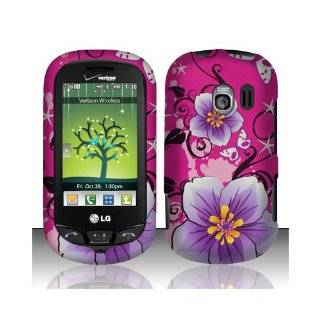 Purple Pink Flower Hard Cover Case for LG Extravert VN271 UN271 AN271 Cell Phones & Accessories