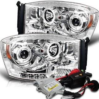 High Performance Xenon HID Dodge Ram 1500 / Ram 2500/3500 Halo LED ( Replaceable LEDs ) Projector Headlights with Premium Ballast   Chrome with 8000K Crystal Blue HID Automotive