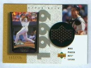 Mike Piazza 2002 Upper Deck Baseball Game Worn Jersey Card #R MP & #/275 New York Mets Sports Collectibles
