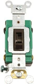 Leviton 3032 2L 30 Amp, 120/277 Volt, Toggle Locking Double Pole AC Quiet Switch, Extra Heavy Duty Spec Grade, Self Grounding, Back and Side Wired, Brown   Wall Light Switches