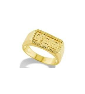 14k Solid Yellow Gold Father DAD Nugget Mens Band Ring Jewelry