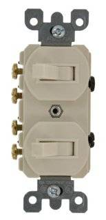 Leviton 5243 15 Amp, 120/277 Volt, Duplex Style Two 3 Way Combination Switch, Commercial Grade, Light Almond   Wall Light Switches