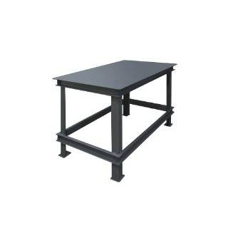 "Durham Steel Extra Heavy Duty Machine Table, HWBMT 366034 95,  1 Shelves,  14000 lbs Capacity,  36"" Length x 60"" Width x 34"" Height,  Gray Powder Coat Finish"
