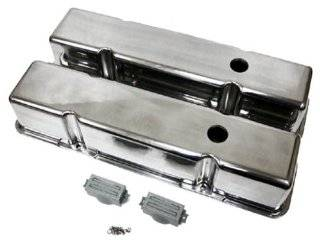 1958 86 Chevy Small Block 283 305 327 350 400 Tall Polished Aluminum Valve Covers   Smooth Automotive