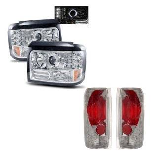92 96 Ford Bronco Chrome LED Halo Projector Headlights /w Side Markers & Parking Lights + Euro Tail Lights Combo Automotive