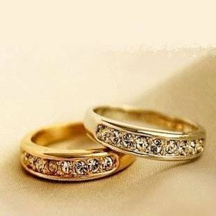 JE289 1 Piece Delicate Small Shinning stone Pattern Ring, Golden Shinning Stone Pattern Ring  Ponytail Holders  Beauty