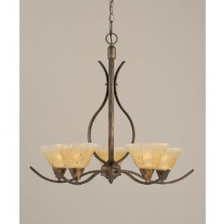 Mini Chandelier w 7 in. Amber Crystal Glass Shades
