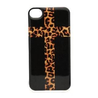 Cross with Leopard Print   iPhone 4 4S Snap On Case Clear Plastic Black Cheetah Cell Phones & Accessories
