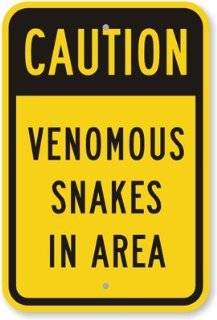 "SmartSign 3M Engineer Grade Reflective Sign, Legend ""Venomous Snakes in Area"", 18"" high x 12"" wide, Black on Yellow"