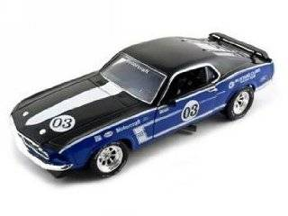 1969 Ford Mustang Boss 302 Diecast Car 1/24 Racer #3 Blue Toys & Games