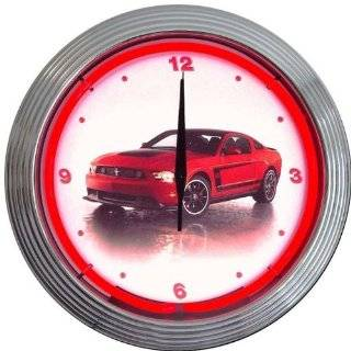 "Ford Mustang Boss 302 Neon Clock (Multicolor) (15""H x 15""W x 3""D)   Wall Clocks"