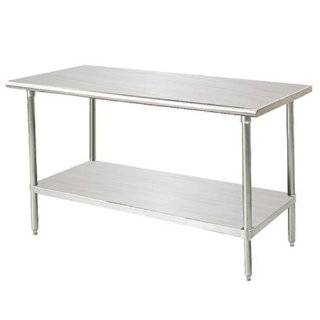 "48"" W x 30"" D   Flat Top Work Table with Undershelf   14 Gauge Top   All Stainless Steel   Advance Tabco   SS 304"