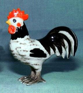 BANTAM ROOSTER Speckled Black/White MINIATURE New Porcelain KLIMA K305F   Collectible Figurines