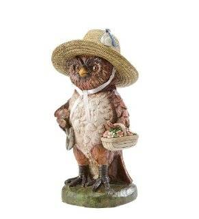 Hand Painted Resin Owl With Basket And Sun Hat Garden Statue  Outdoor Statues  Patio, Lawn & Garden