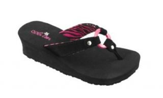 Cobian Lily Black Youth Girls Wedge Sandal (1/2) Shoes