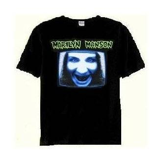 Marilyn Manson 'TV Screen' black t shirt (Large) [Apparel] Clothing