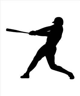 "Baseball Player Outline Decall Baseball Player Silhouette, Batter version 2 Decal Sticker for Window, Bumper, Car, Laptop, Notebook Decal size 5"" Tall in WHITE  Exterior Window sticker with"